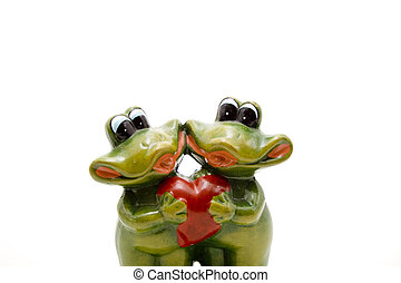 Frog pair of with heart