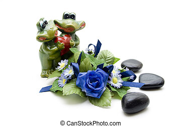 Frog pair of with roses