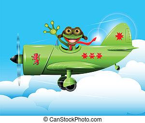 frog pilot - illustration merry green frog pilot in the...