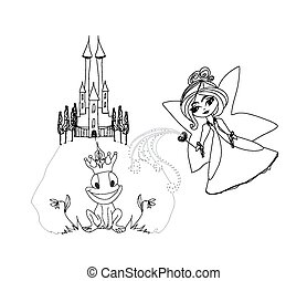 Frog Prince Cartoon Character and beautiful fairy