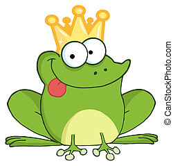 Frog Prince Cartoon Character - Frog Prince Sticking His...