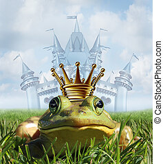 Frog prince castle concept with gold crown representing the fairy tale symbol of hope romance and change in a transformation from an amphibian to handsome royalty after a princess kiss.