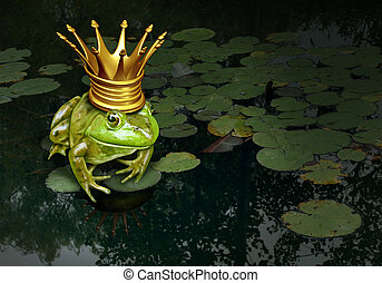 Frog prince concept with gold crown representing the fairy tale concept of change and transformation from an amphibian to royalty on a lily pad pond background.
