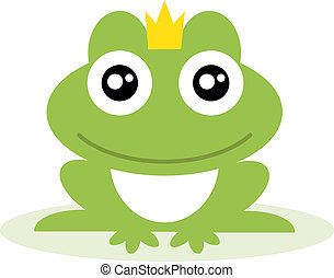 Frog prince. - Illustration of a frog wearing a crown