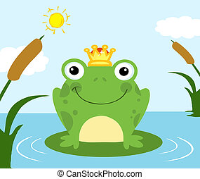 Happy Frog Prince Cartoon Character On A Leaf In Lake