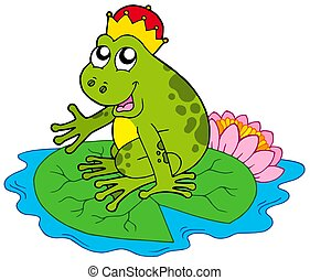 Frog prince on water lily - isolated illustration.