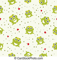 Frog Prince seamless background. Vector illustration.