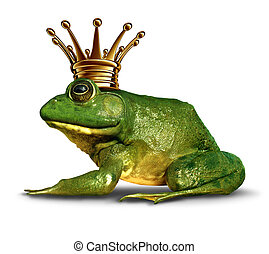 Frog prince side view concept with gold crown representing the fairy tale symbol of change and transformation from an amphibian to royalty.