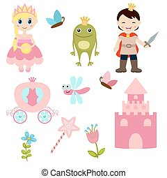 Frog prince - Vector icons collection as design elements, a...