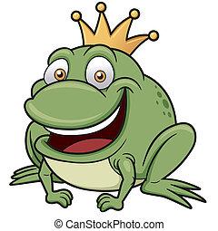 Frog prince - vector illustration of Cartoon frog prince