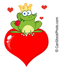 Frog Prince With A Rose On A Heart