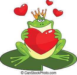 Frog prince with heart - Frog prince holding a heart