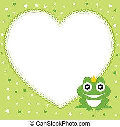 Frog prince with heart shape frame