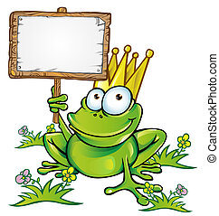 frog prince with signboard