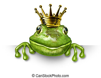 Frog prince with small gold crown holding a blank sign...