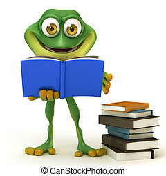 frog read a book