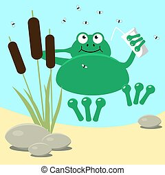 Frog resting swamp reeds and midge. Vector illustration