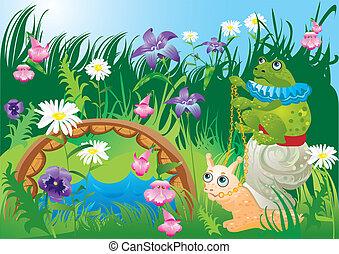 Frog riding snail - fairy tale illustration