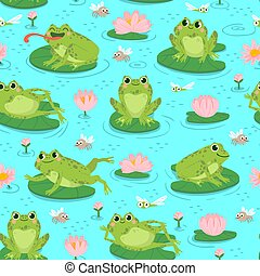 Frog seamless pattern. Repeating cute frogs and aquatic plants baby shower design, cards print or wallpaper textile cartoon vector texture