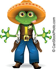 frog sheriff - illustration of a frog dressed as sheriff