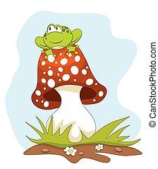 Frog sitting on a mushroom over blue sky