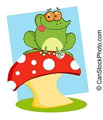 Frog Sitting On A Mushroom