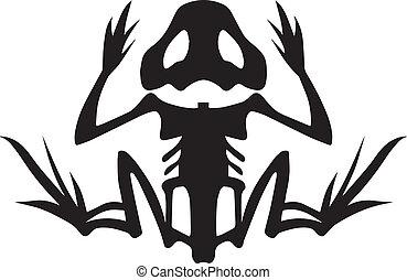 Frog Skeleton - A stylized frog skeleton in silhouette....