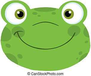 Frog Smiling Head - Cute Frog Smiling Head