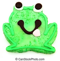Frog Sugar Cookie over White