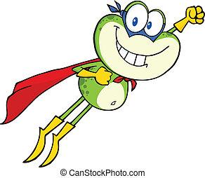 Frog Superhero Flying