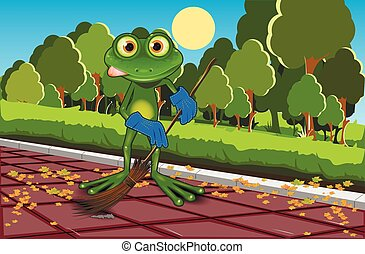Frog sweeping track - Illustration of a green frog with a...