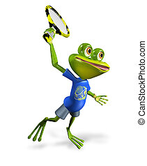 frog tennis - illustration a merry green frog tennis player