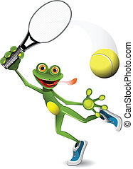 frog tennis player - illustration a merry green frog tennis...