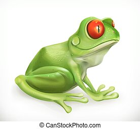 Frog. Toad. Funny animal. 3d vector icon