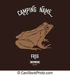 Frog vector illustration. European animals silhouettes with...