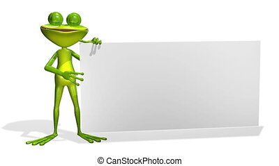 frog - animation merry green frog and white background