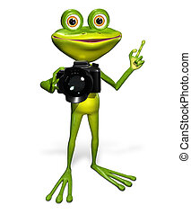 Frog with a camera - illustration a merry green frog with a...