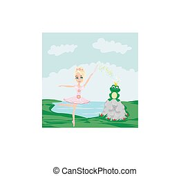 Frog with a crown And fairy ballerina