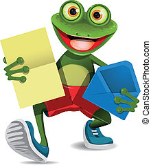 illustration of a green frog with a letter