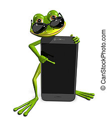 frog with a smartphone - abstract illustration of the green...