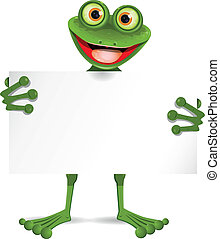 Frog with a white plate - illustration of a cheerful frog...