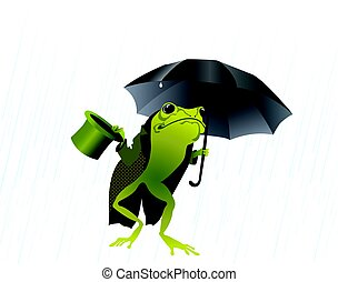 Frog with an umbrella