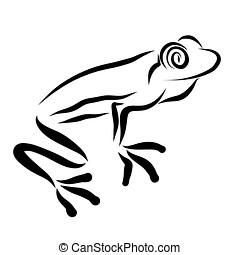 Frog with big eyes, black sketch, pattern