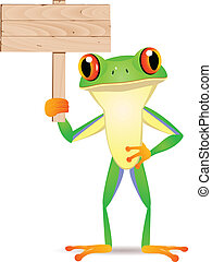 Frog with blank signboard - Vector illustration of frog with...