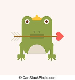Frog with crown and arrow vector illustration isolated on...