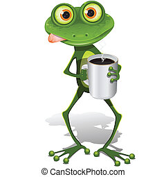 frog with cup coffee - illustration, green frog with cup hot...