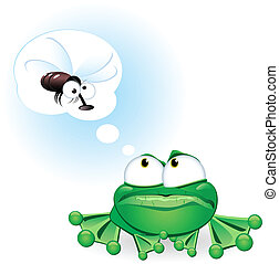 Frog with fly - Frog dreaming about a fly. Illustration on...