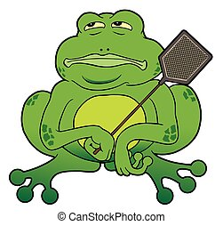 Frog With Fly Swatter - Cartoon frog with fly swatter is...
