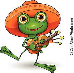 Frog with Guitar - Illustration frog in a sombrero with a...
