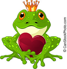 Frog Prince waiting to be kissed, holding a heart.